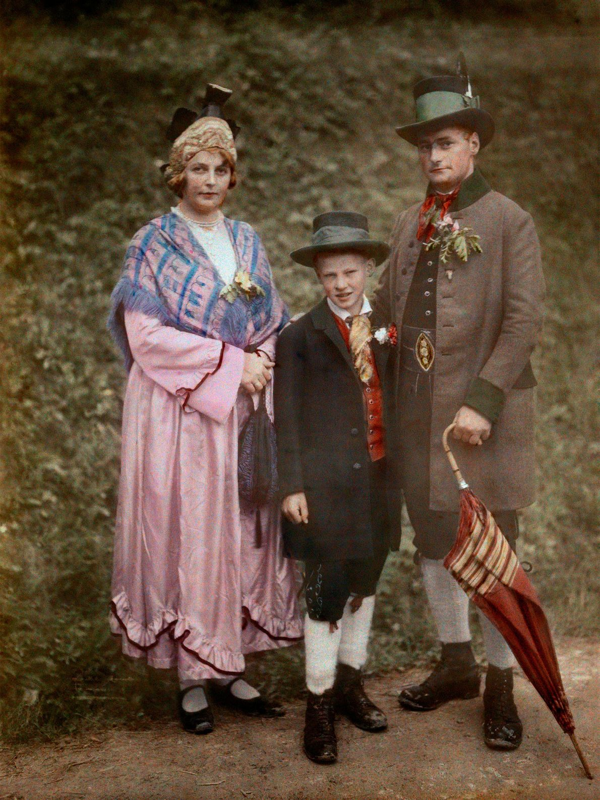 An Austrian family in the early 1900s wears clothing reflective of the era of Archduke Johann, ...