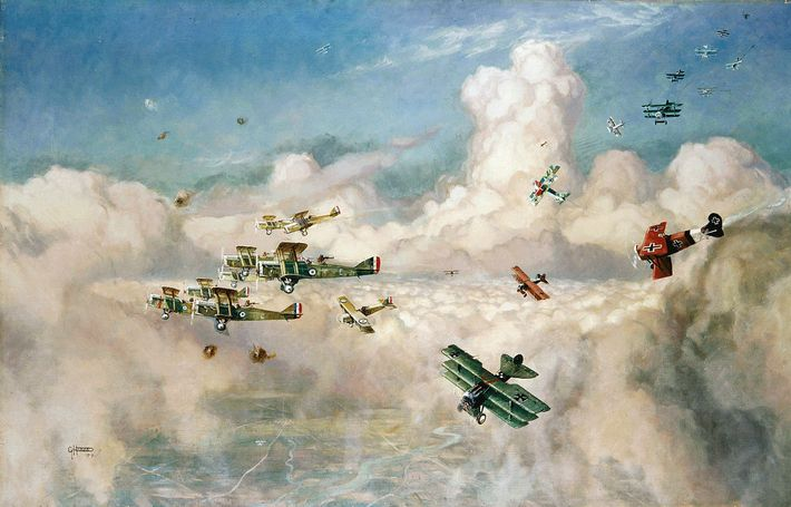 Horace Davis's 1919 painting shows German fighters pursuing British DH.9A biplanes flying in a tight defensive ...