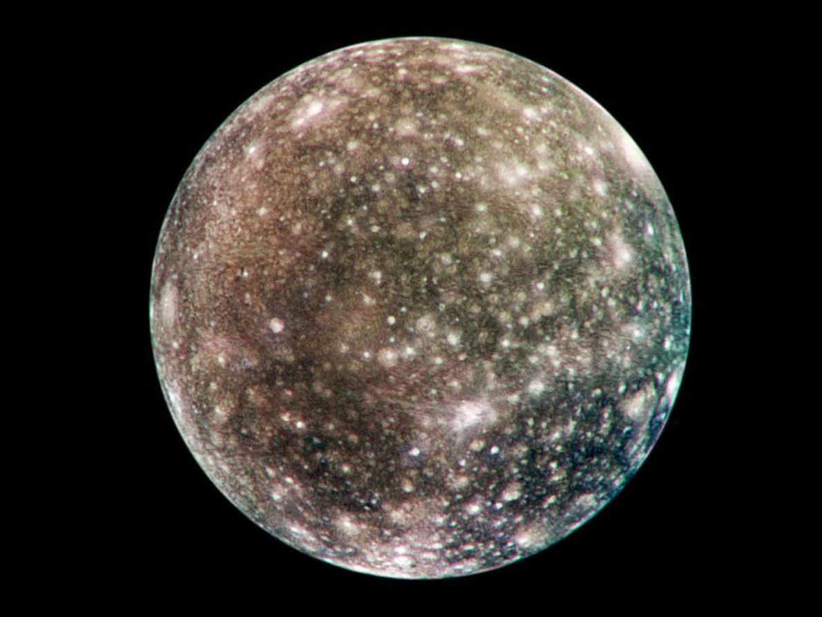 This global map of the moon Callisto, based on images from the Galileo spacecraft, shows bright ...