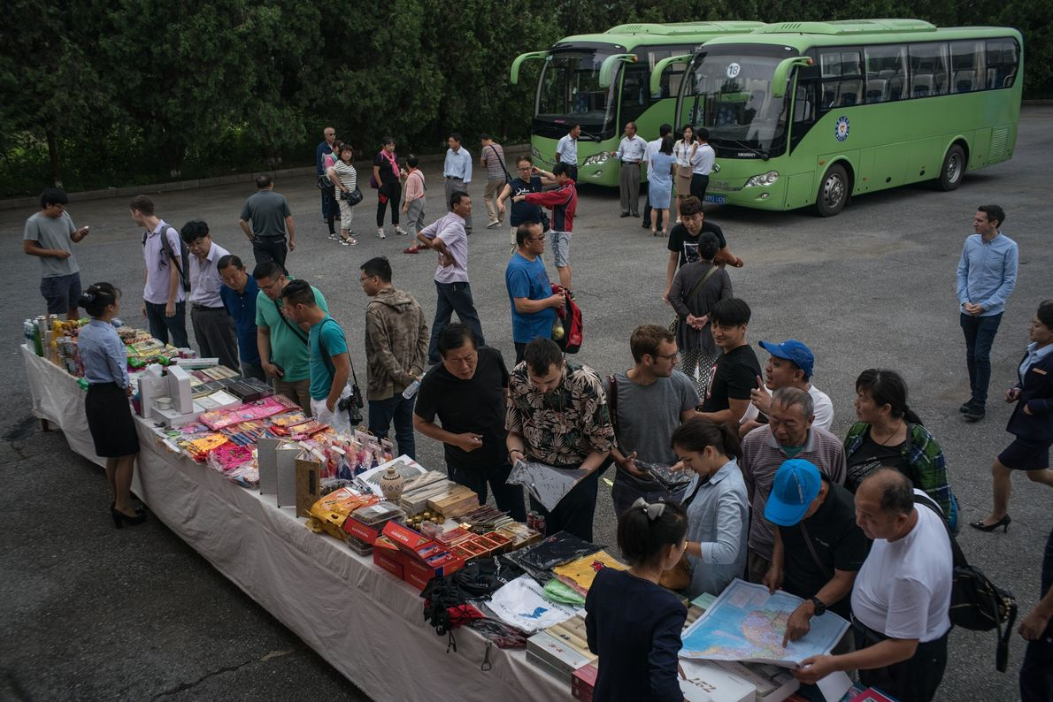 Souvenirs are sold to tourists at a rest stop halfway between Pyongyang and Kaesong.
