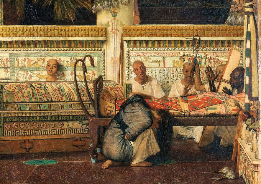 An Egyptian widow mourns her mummified husband in this 1872 work by Lawrence Alma-Tadema. Despite his ...