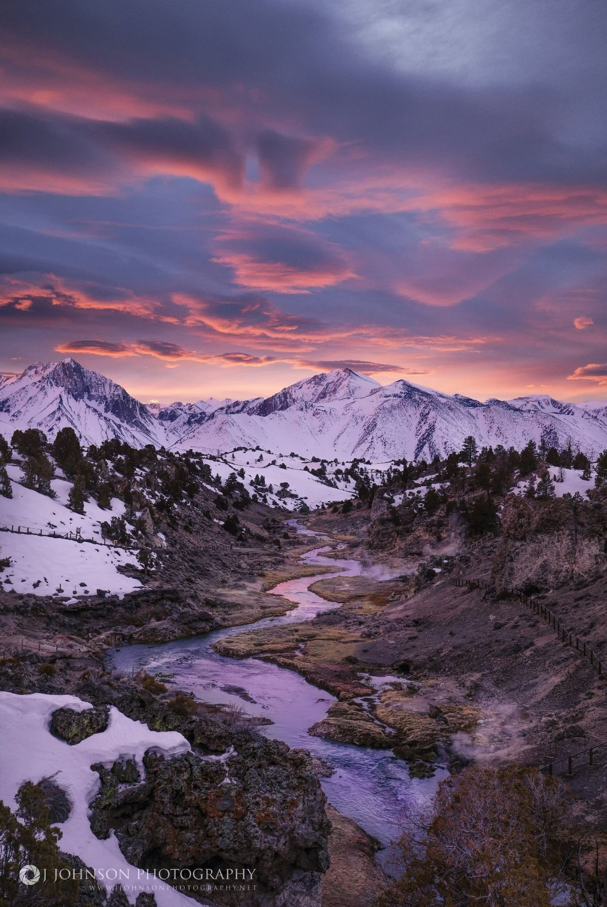 Your Shot photographer Jeremy Johnson documented this dreamy scene of Hot Creek near Mammoth Lakes, California.