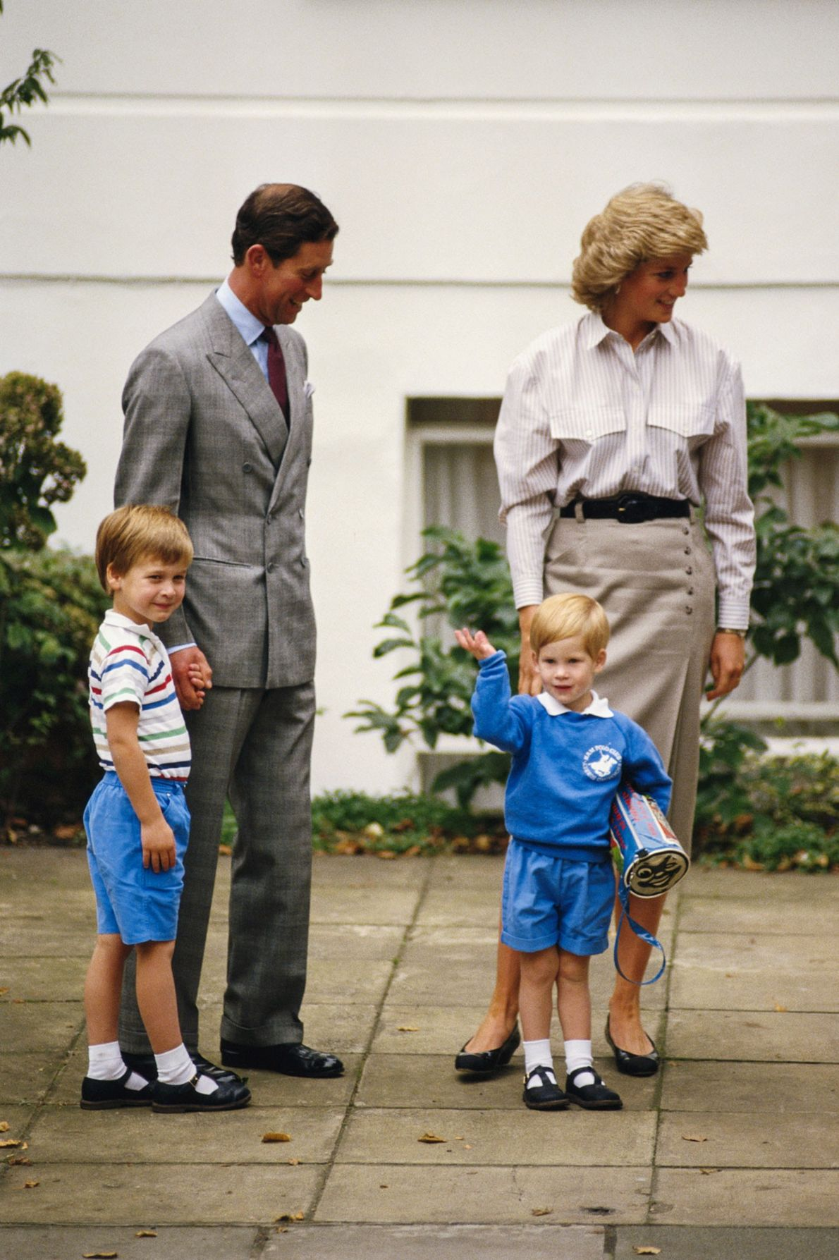 Prince Charles, Princess Diana, and Prince William accompany Prince Harry on his first day at Mrs. ...