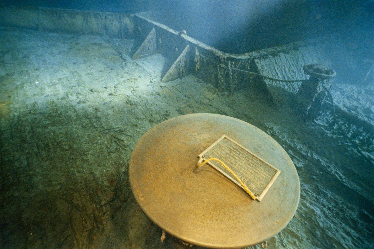 In 1986, Bob Ballard and the Explorers Club left a commemorative plaque on the sunken deck ...