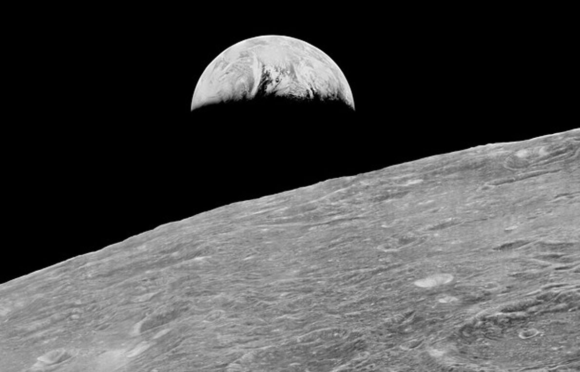 This is humanity's first view of Earth from the moon, taken by NASA's uncrewed Lunar Orbiter ...