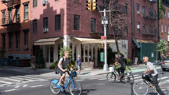 Crossing in Greenwich Village.
