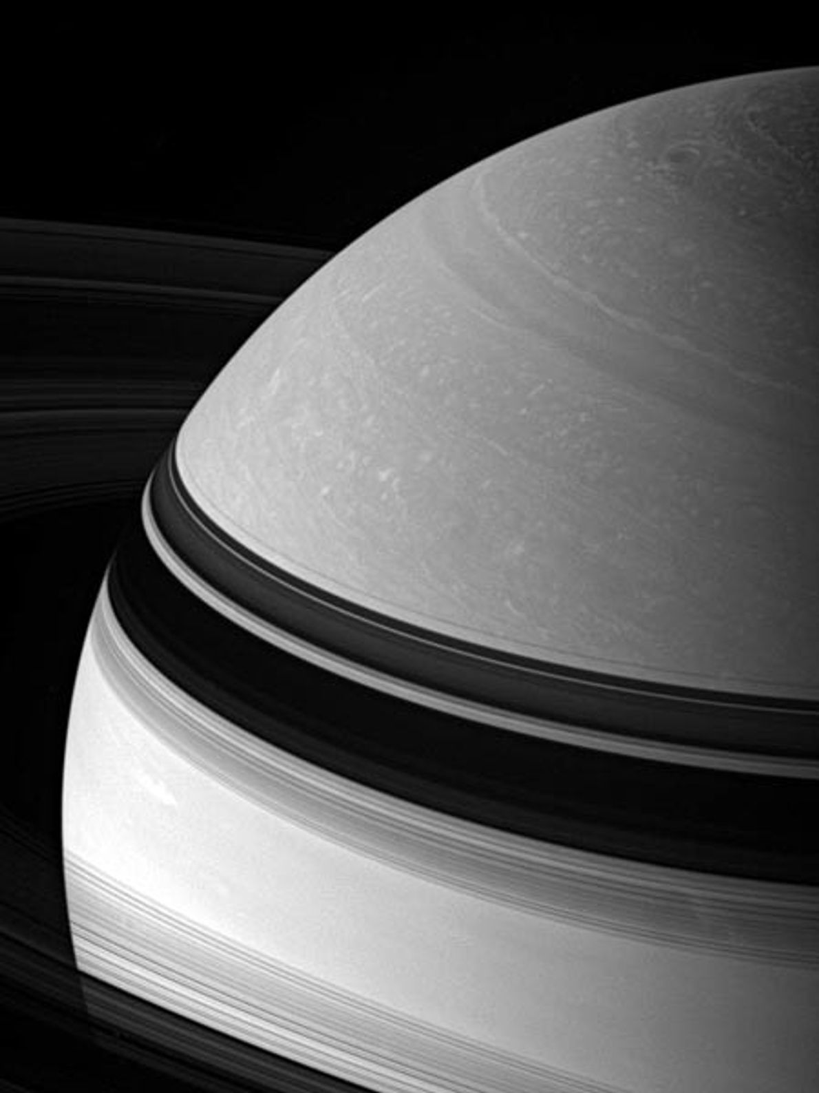Clouds swirl on Saturn, the second largest planet in our solar system. Like its bigger neighbour ...