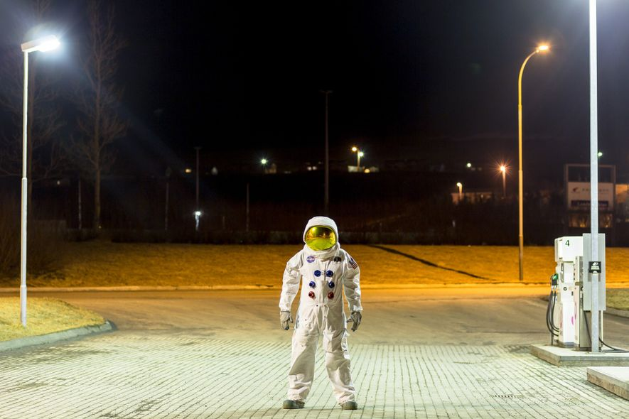 Dressed in a replica of an Apollo spacesuit, Örlygur Hnefill Örlygsson stands on the outskirts of ...