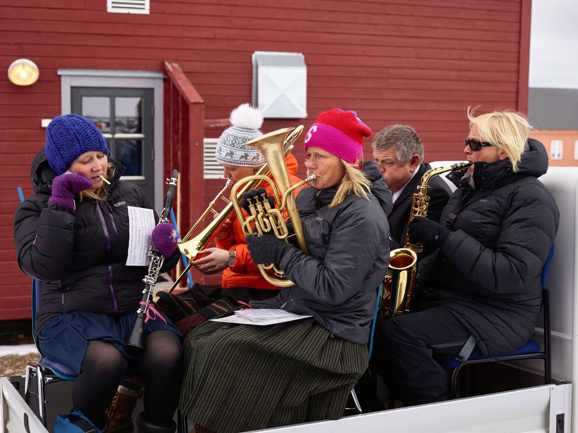 Base staff members and workers play at Ny-Ålesund to celebrate Norway's Independence Day.