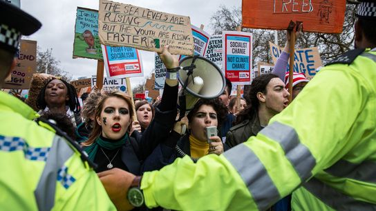 Thousands of students marched across the streets of London during the March 15, 2019 climate strikes.