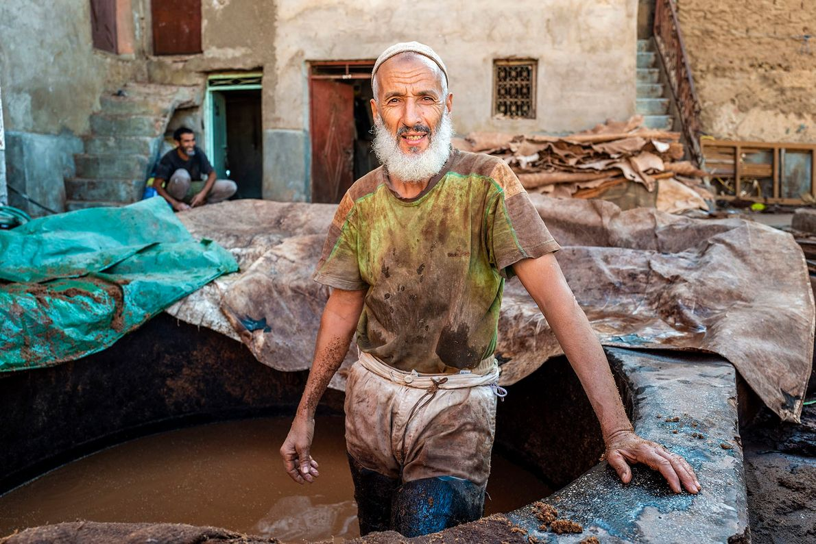 Abdul Mohammed, an experienced tanner, in one of the Bab Debbagh tanneries. The skins are laid ...