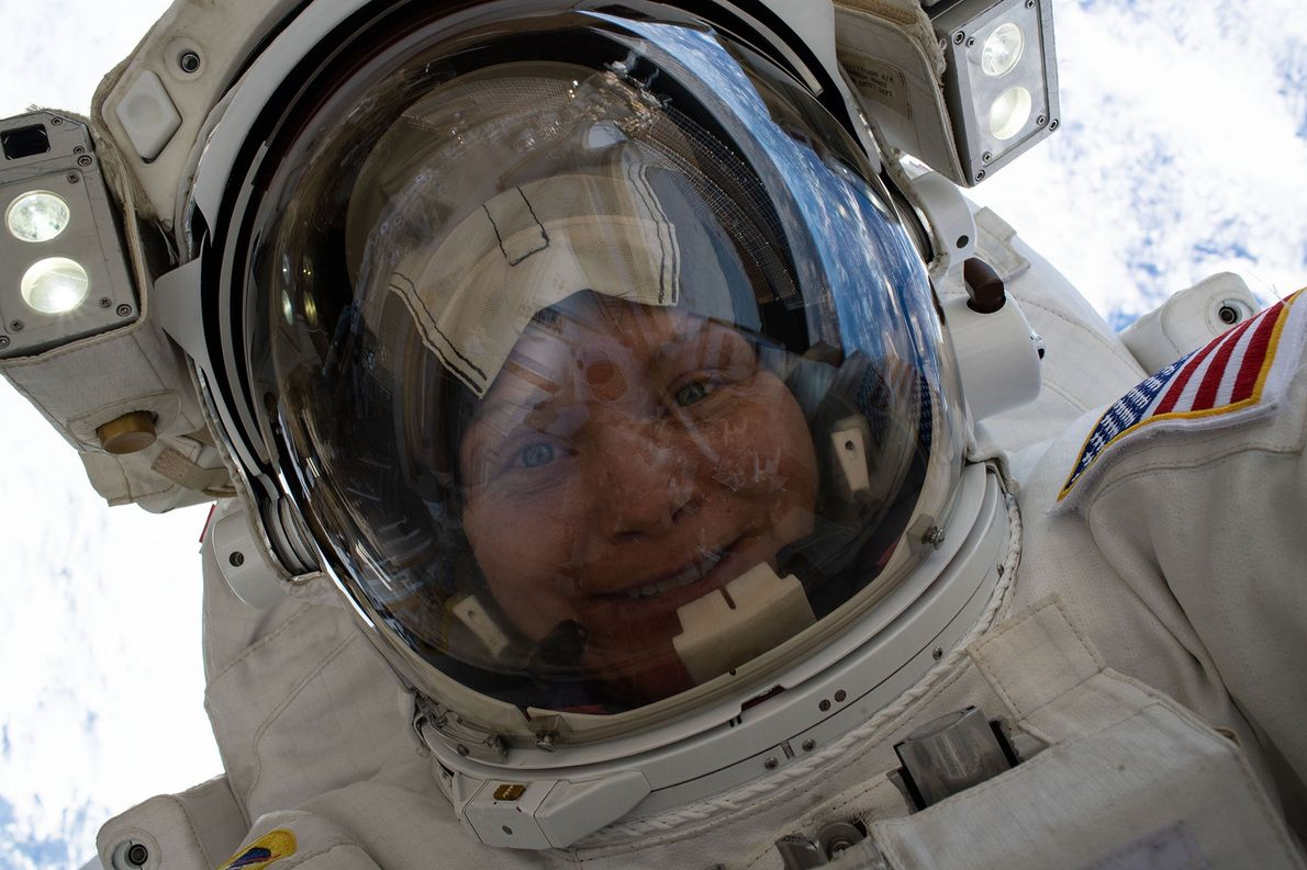 Astronaut Anne McClain took this space selfie 260 miles above Earth's surface during a roughly six-and-a-half-hour ...