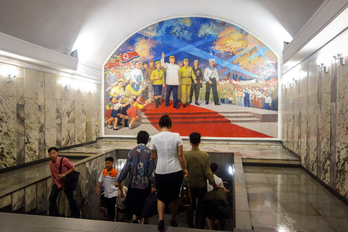 The murals in the Pyongyang Metro are jubilant and patriotic. In this one, Kim Il Sung ...