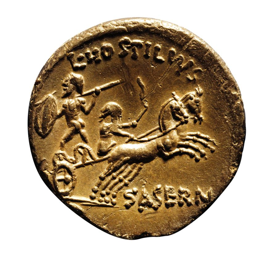 At the time of his invasion in 55-54 B.C., Julius Caesar reported the Britons' use of chariots, as shown on a Roman denarius, minted around 48 B.C., bearing a Celtic warrior on a chariot. Ashmolean Museum, Oxford