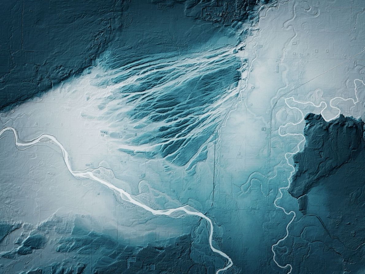 Channels in northwestern Washington formed when melting glaciers caused major floods. The channels are highlighted near ...