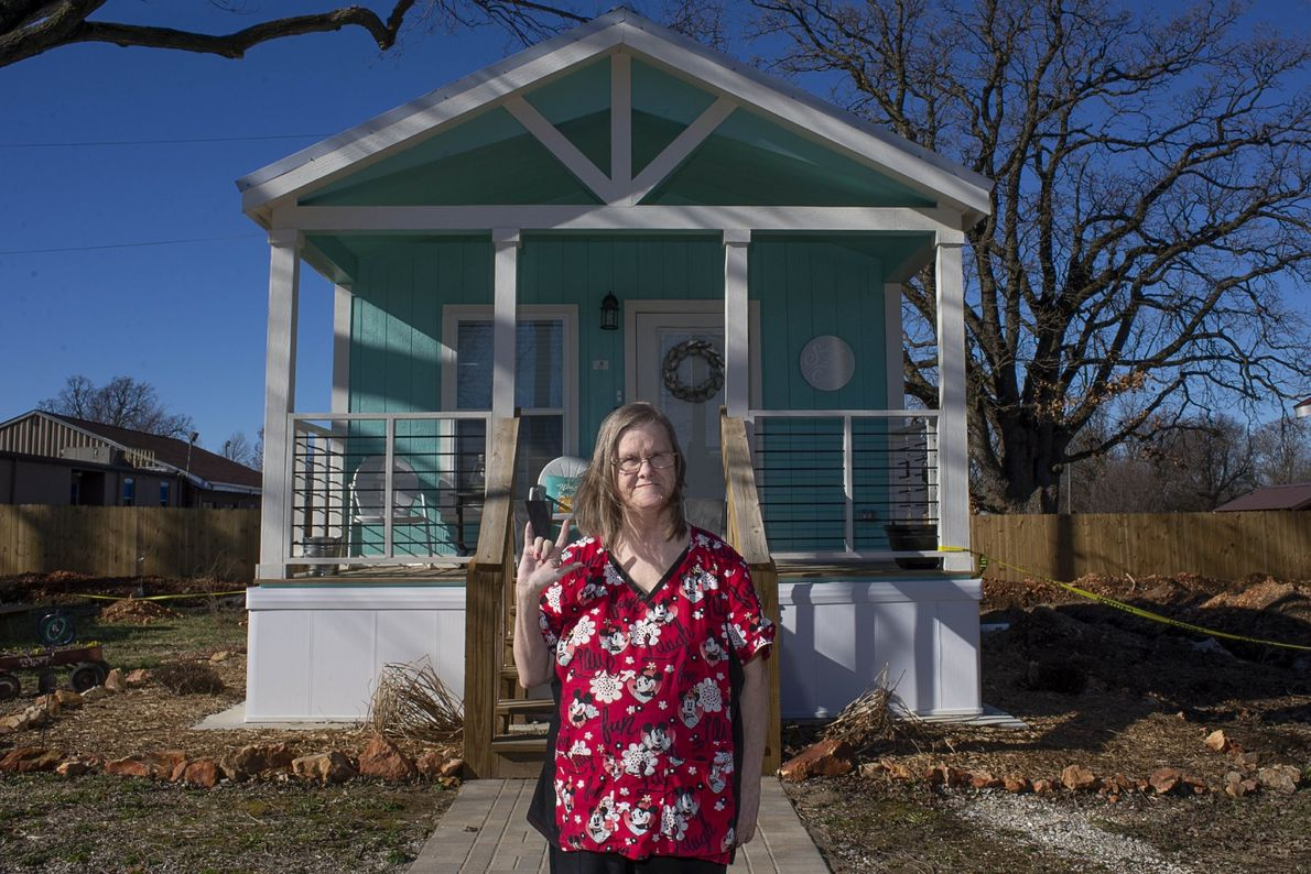 """""""Nancy and her new home in Eden Village, a community of tiny homes for the chronically ..."""