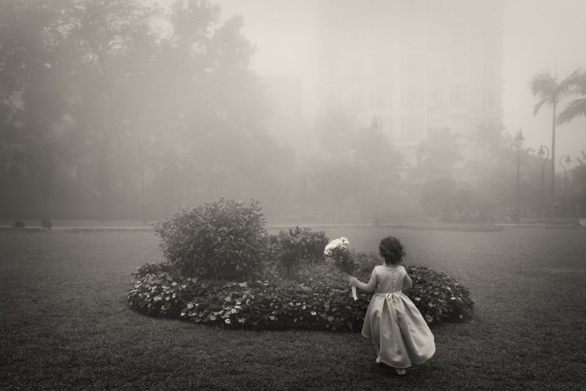 Your Shot photographer Mary Dimitropoulou documented this little girl in a park on a foggy morning ...
