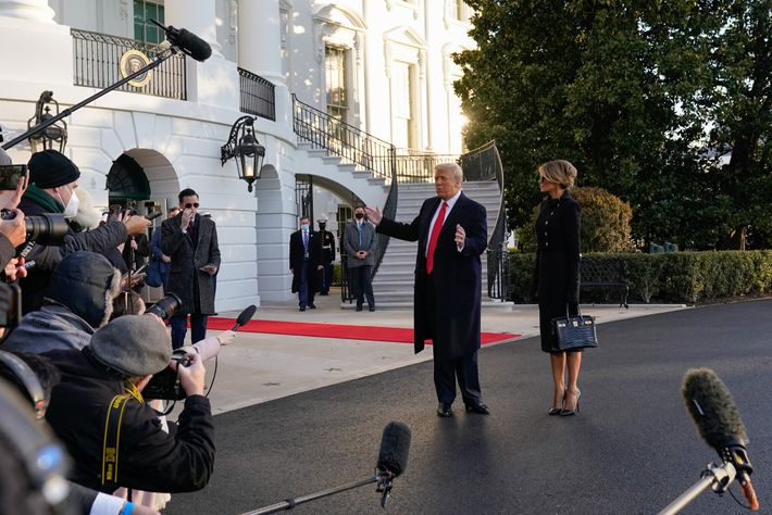 Trump speaks to the media at the White House for the last time as president before ...