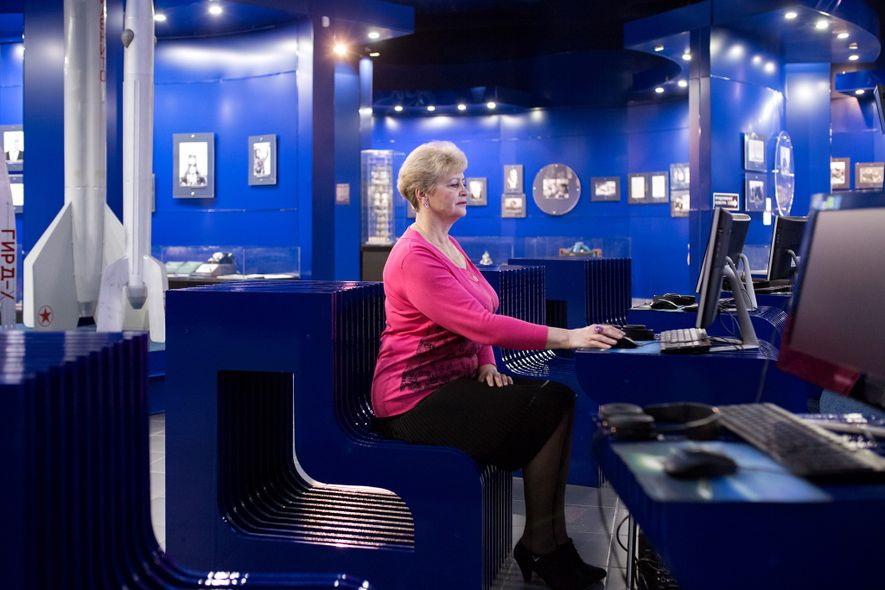 Lyudmila Demina, who is the head of the Museum of the First Flight, sits in the ...