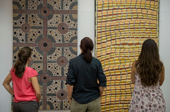 Mbantua Art Gallery, with locations in both Darwin and Alice Springs, showcases authentic Aboriginal art from ...