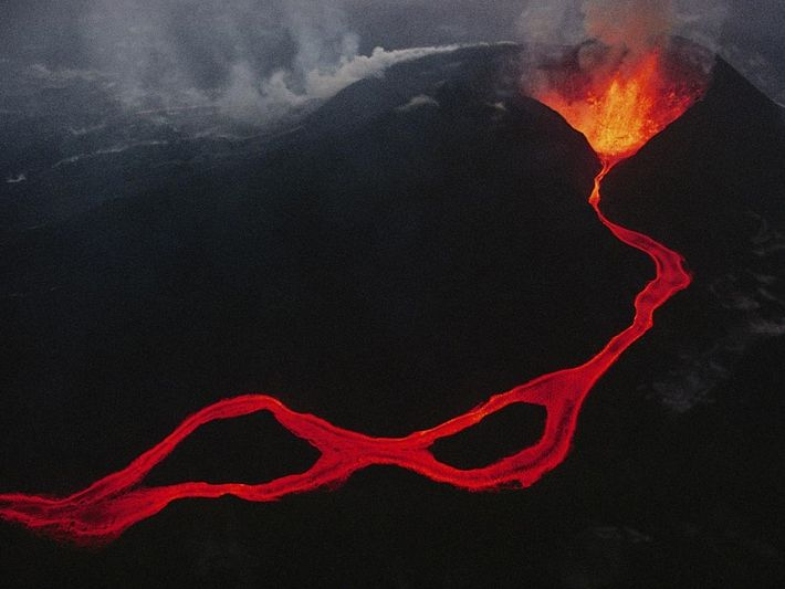 Lava spews out of a fissure in the Virunga mountains in the Democratic Republic of the ...