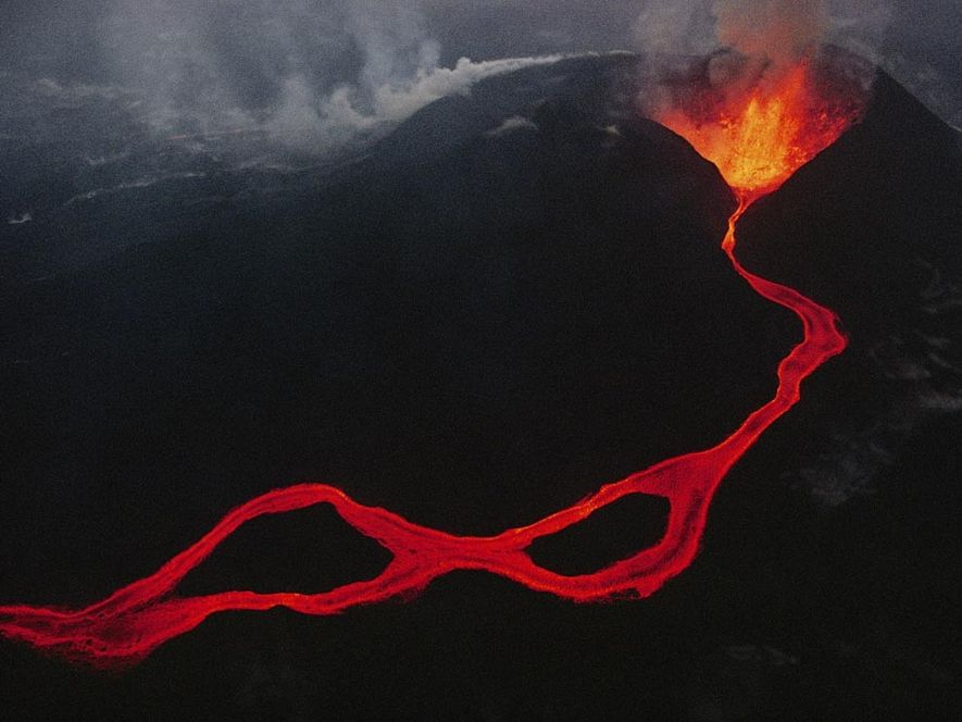 Lava spews out of a fissure in the Virunga mountains in the Democratic Republic of the …