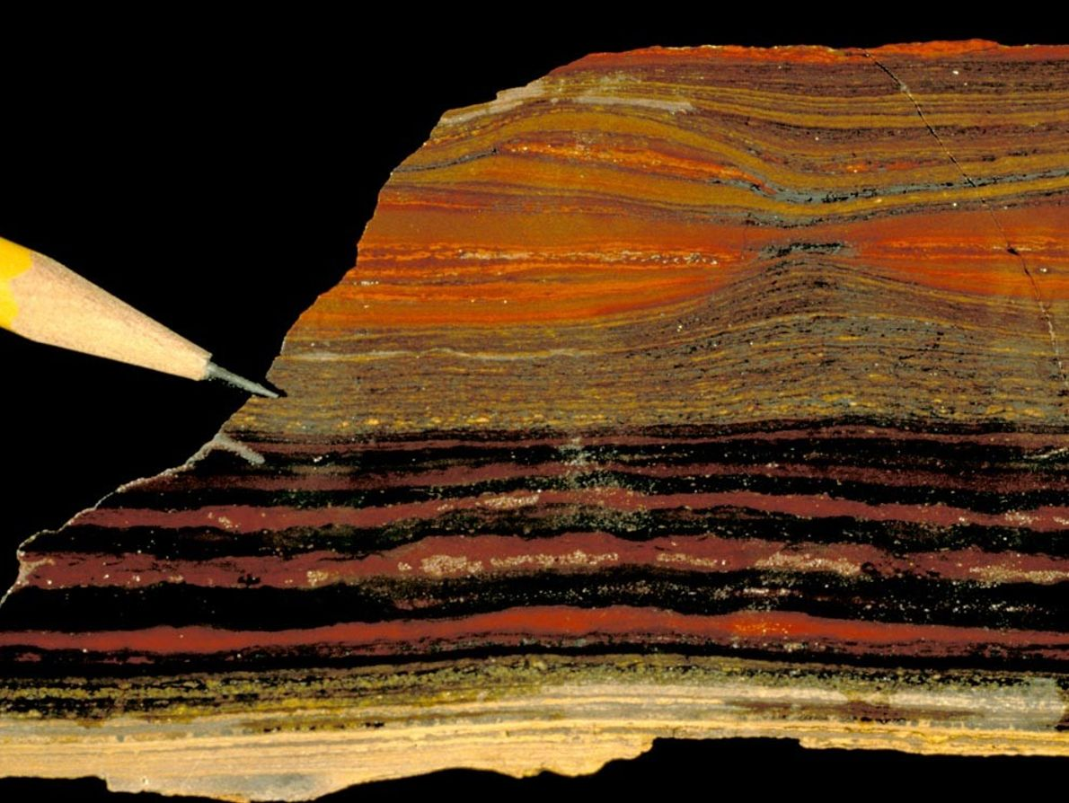 A small section of the Wittenoom Iron Formation in Western Australia highlights how sedimentary rocks are ...