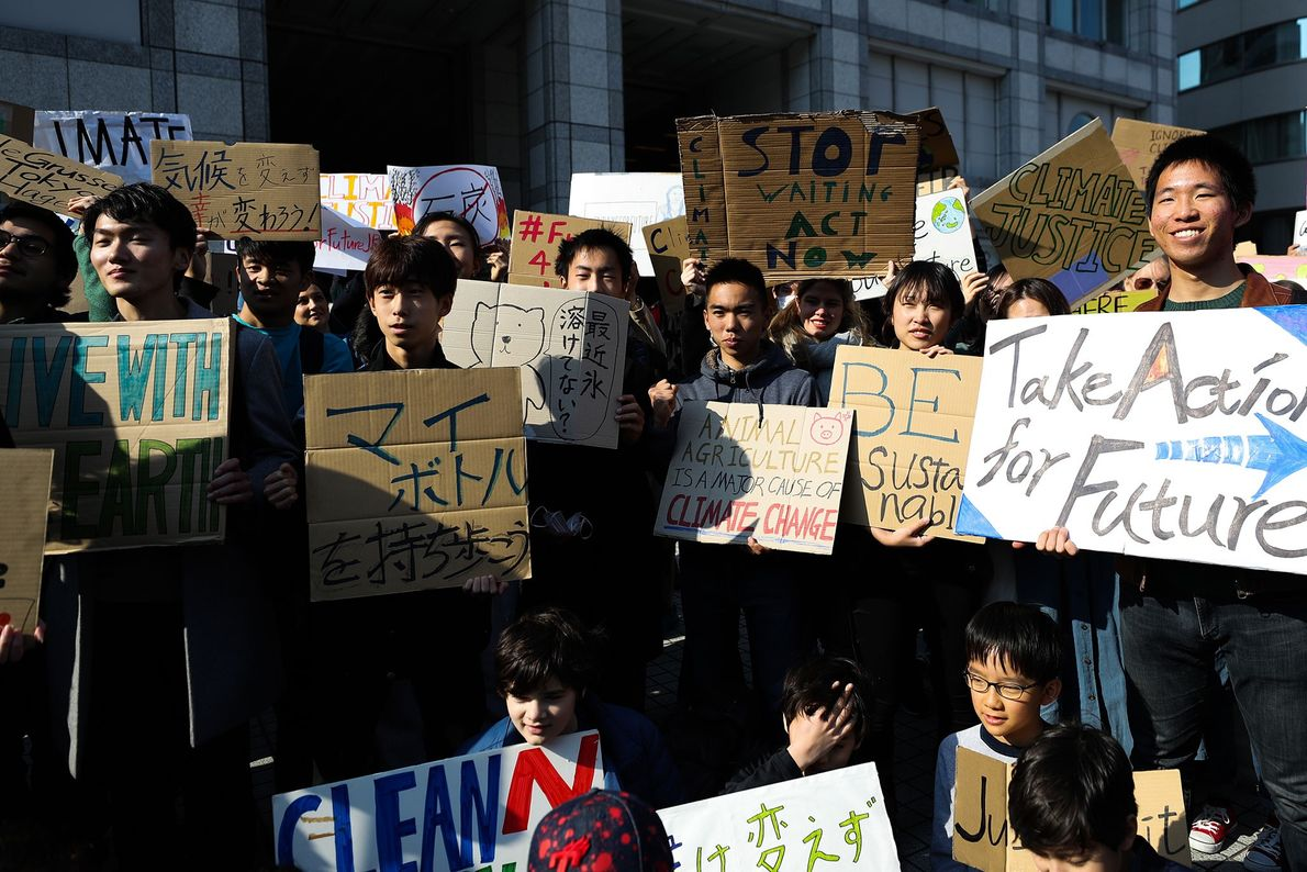 Participants in a #FridaysForFuture event in Tokyo, Japan gathered before they started their climate strike.