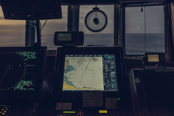 The MS Aquarius navigates southbound towards the search-and-rescue (SAR) zone off Libya, where it will be ...