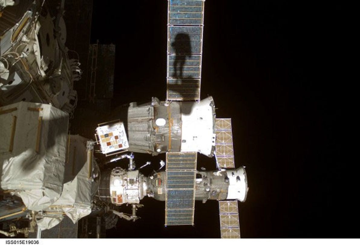 """In 2013, astronaut Clayton C. Anderson shared this """"shadow"""" selfie taken during a 2007 spacewalk outside ..."""
