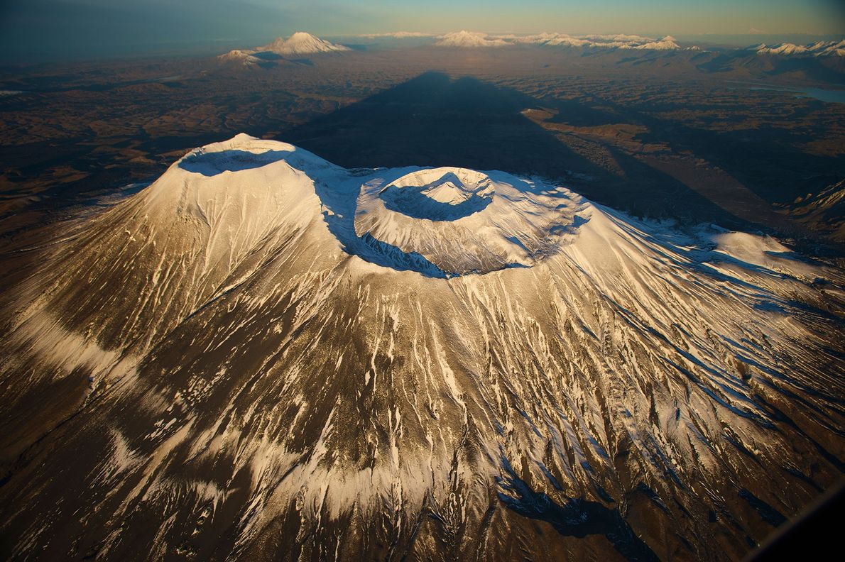 An aerial view of the Krasheninnikov volcano in Russia.
