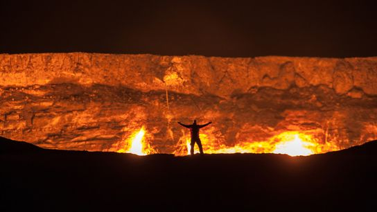 The Door to Hell is a crater in a large natural gas field that has been ...
