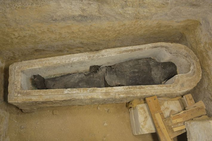 A priest named Ayput was interred in a stone sarcophagus carved in the shape of a ...