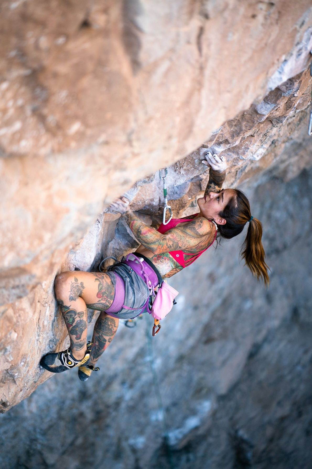 Your Shot photographer Tara Kerzhner photographed a woman as she rock climbs in Rifle, Colorado.