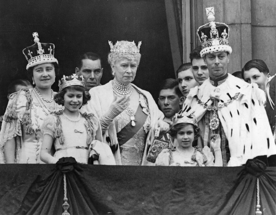 Queen Elizabeth II, second from left, attends the Coronation ceremony for her parents King George VI ...