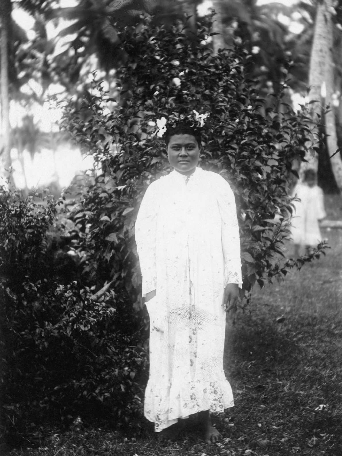This informal portrait of a princess of Tonga was taken on Niue Island in the early ...
