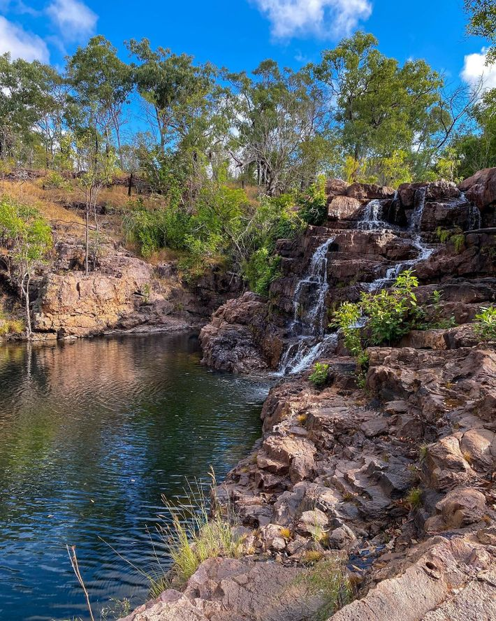 Litchfield National Park, an hour's drive south of Darwin, is home to waterfalls, crystal-clear swimming holes and ...
