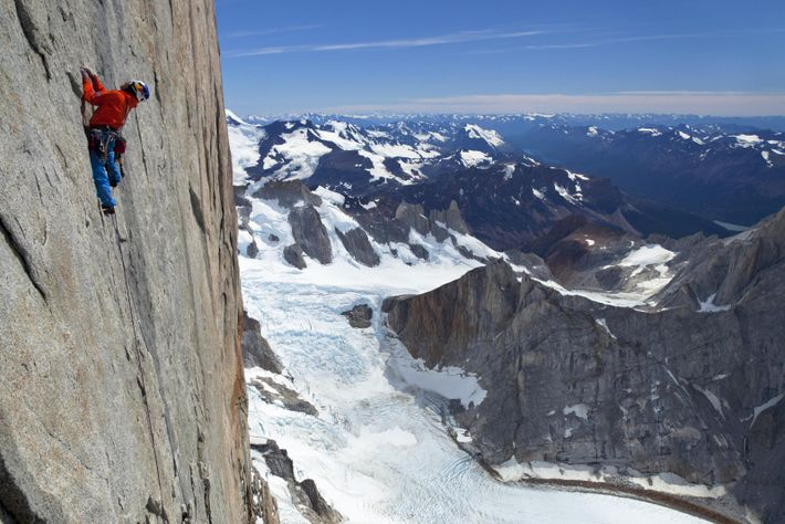 Lama climbs the headwall of Argentina's Cerro Torre on what would be the first free ascent ...