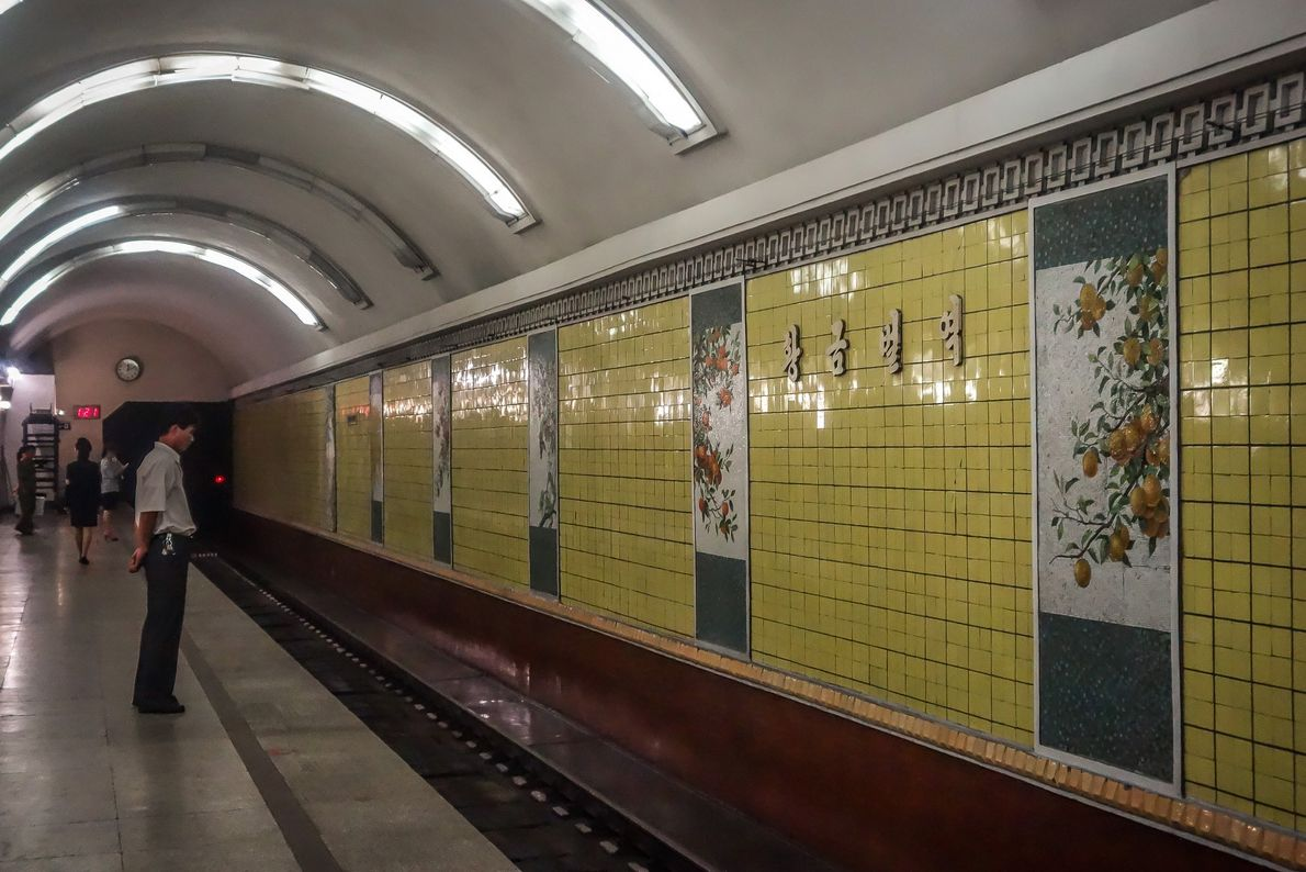 """""""Golden Soil"""" Station features murals of fruits and vegetables. """"Things that are completely normal to us,"""" ..."""