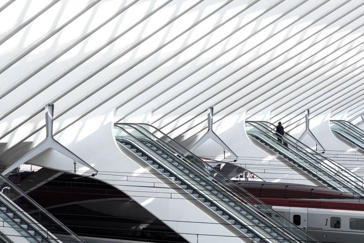 A lone passenger ascends the escalator in Belgium's Liège-Guillemins train station. Spanish architect and designer Santiago ...