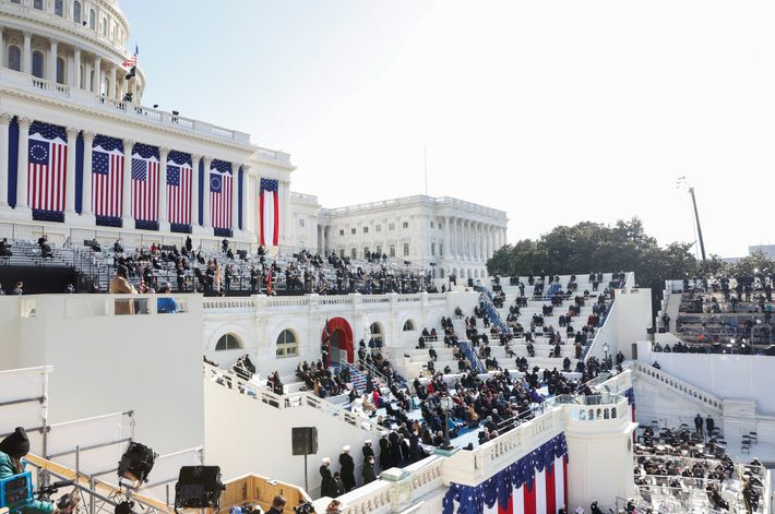 As Biden speaks after he was sworn in, the steps of the U.S. Capitol are sparsely ...