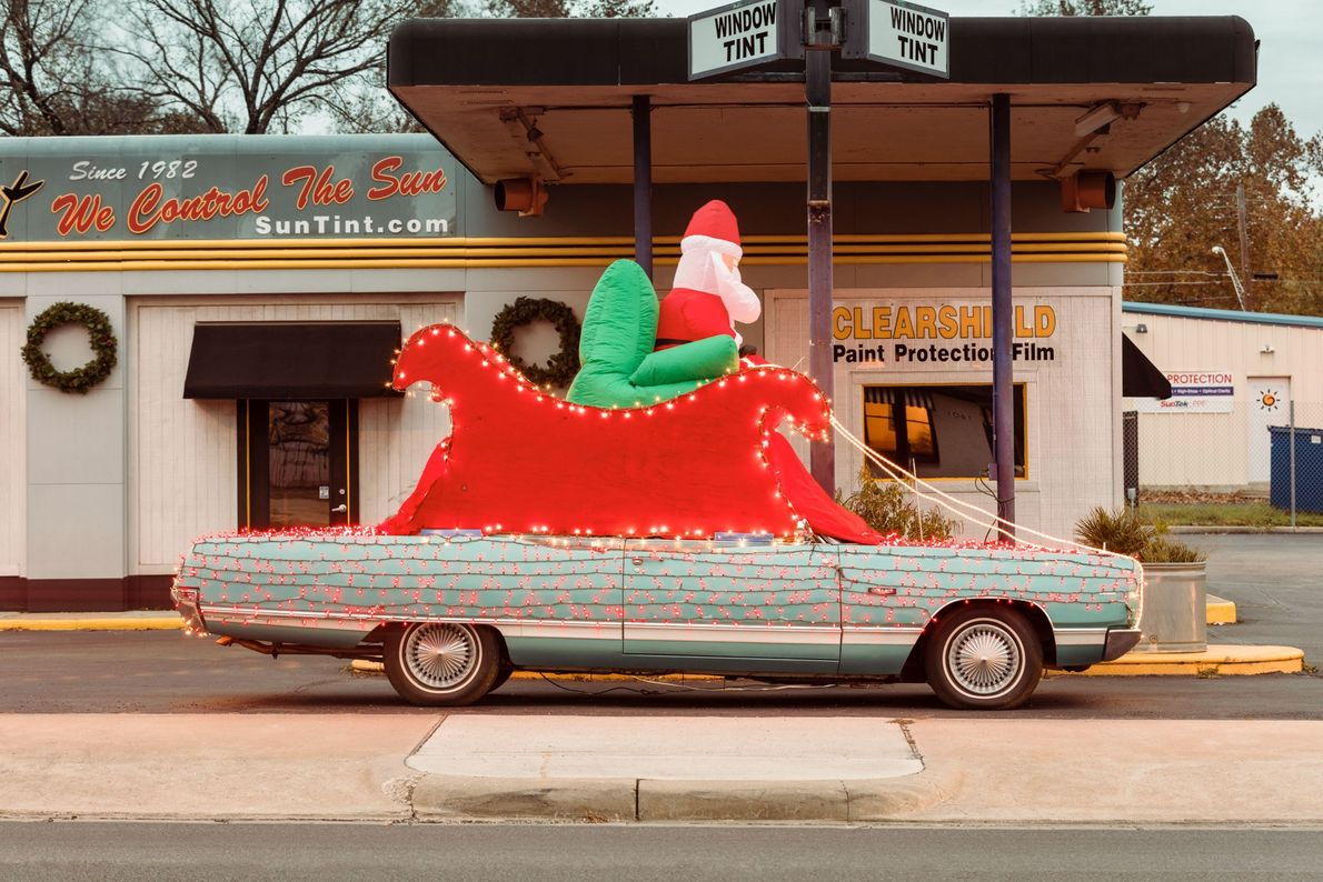 The Sun Tint window tinting company's Christmas display in 2016 featured Santa in his sled above ...