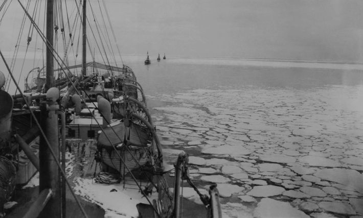 A whaling ship follows in the tracks of the S.S. Hektoria, the Wilkins-Hearst Expedition ship by ...