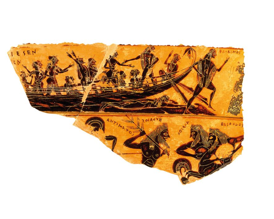 Young Athenians liberated by Theseus disembark in Athens in a scene from the sixth-century B.C. François ...