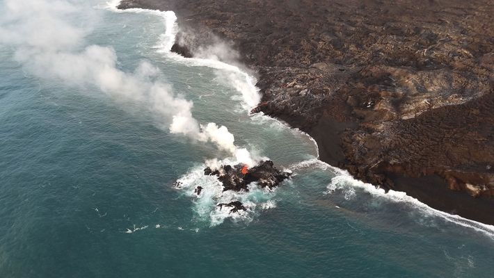 The Kilauea eruption briefly formed this small island off the coast of Hawaii.