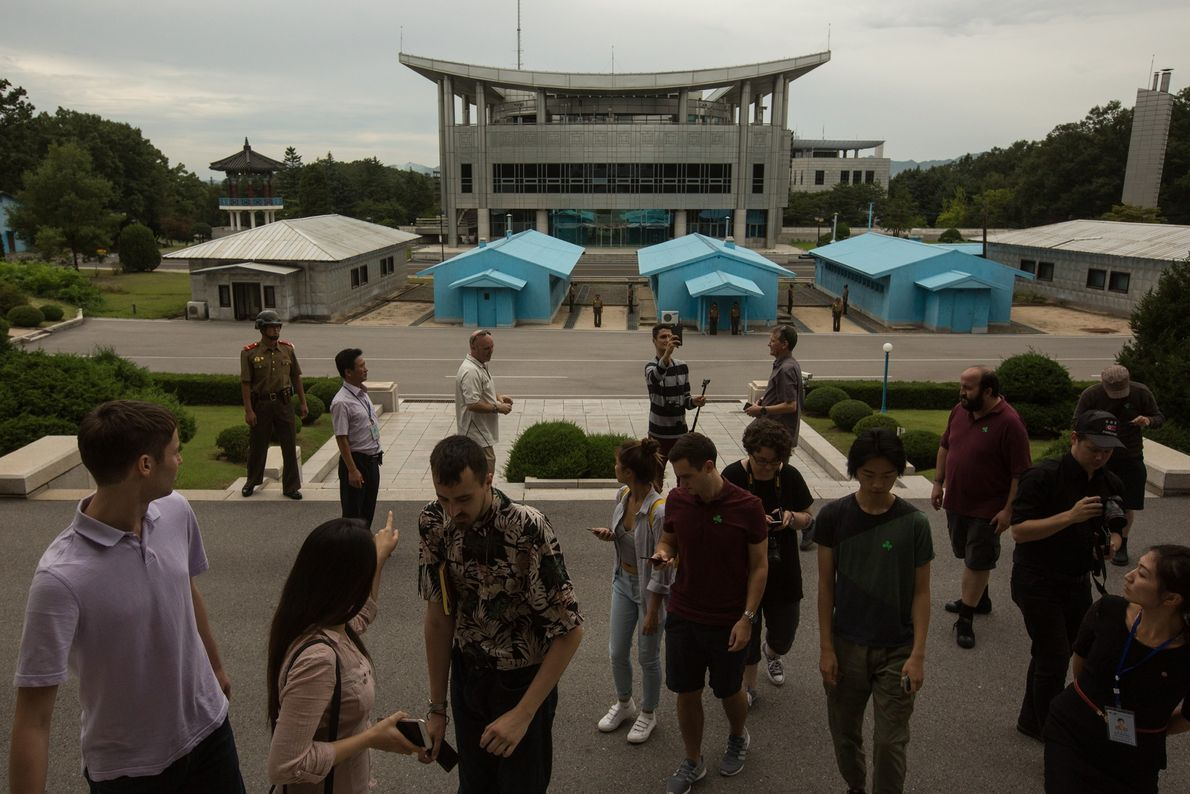 Tourists at the Demilitarised Zone in Panmunjom, North Korea.