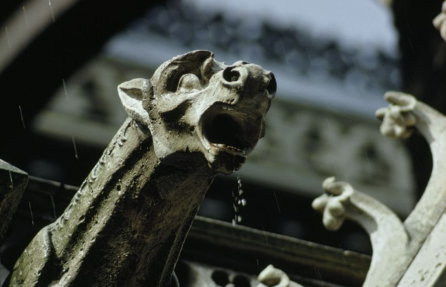 Yawning gargoyle spits rain water clear of the cathedral walls. Hundreds of these grotesque waterspouts reach ...