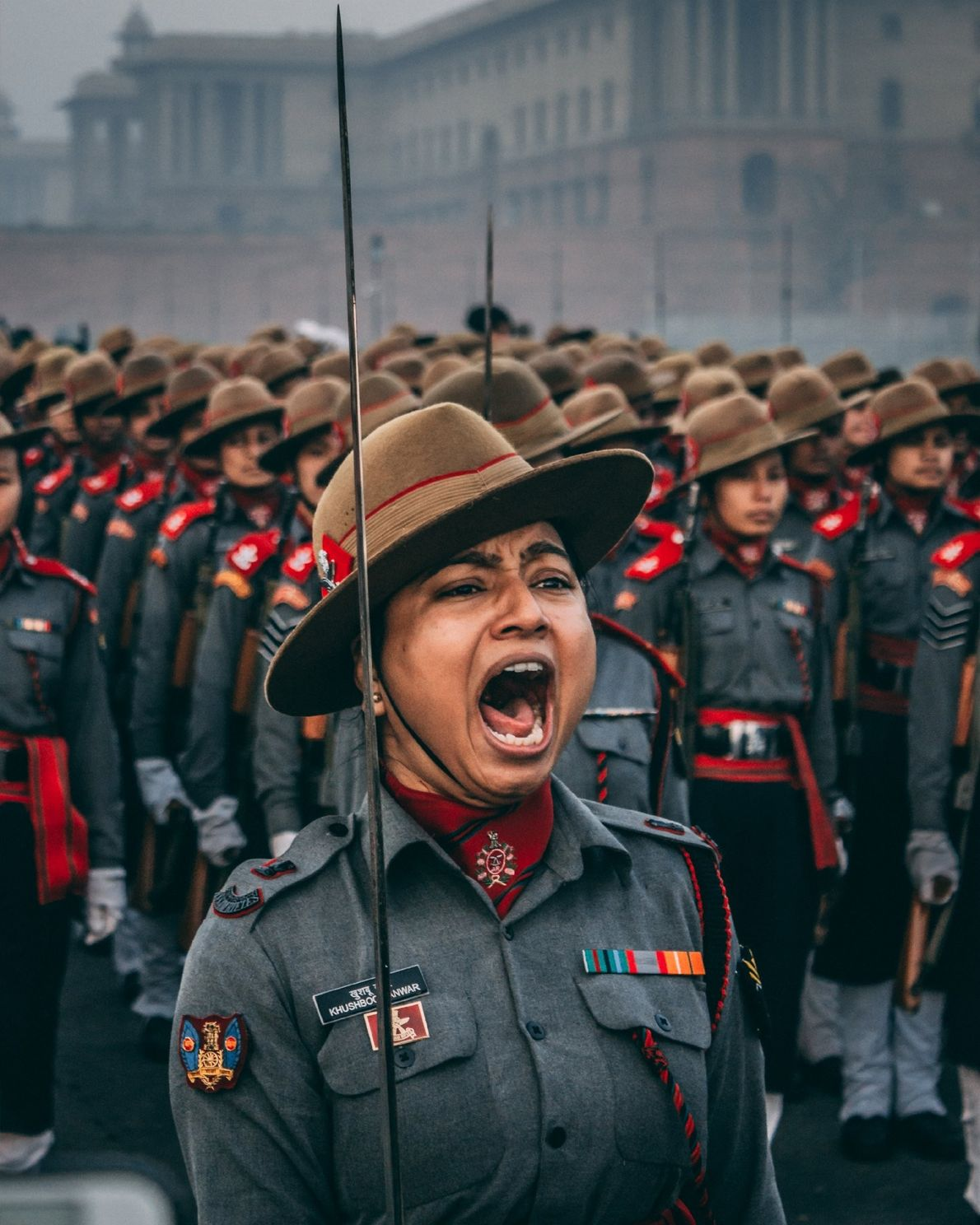 """""""Major Khushboo Kanwar, from the Assam rifle division of the Indian Army along with her troop, ..."""