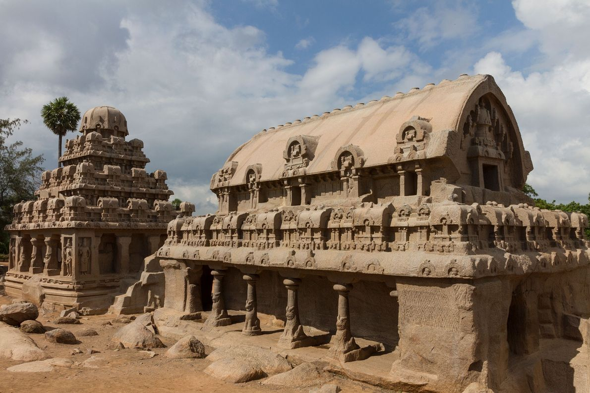 The monuments of the Pancha Rathas complex in southern India were hewn from single slabs of ...