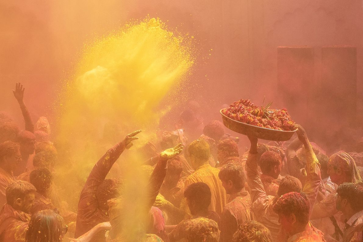 It feels almost surreal to experience the 'colour shower' put on at the Gopinath Temple, in ...